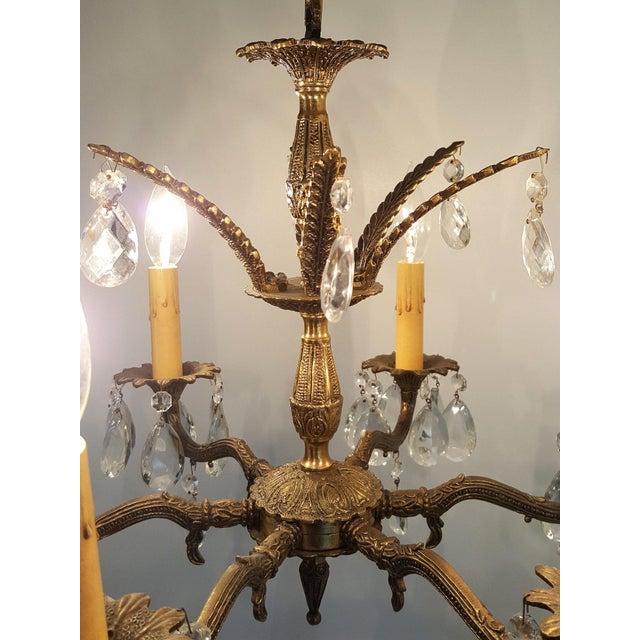 Hollywood Regency Ornate Solid Brass & Crystal Chandelier For Sale - Image 9 of 11