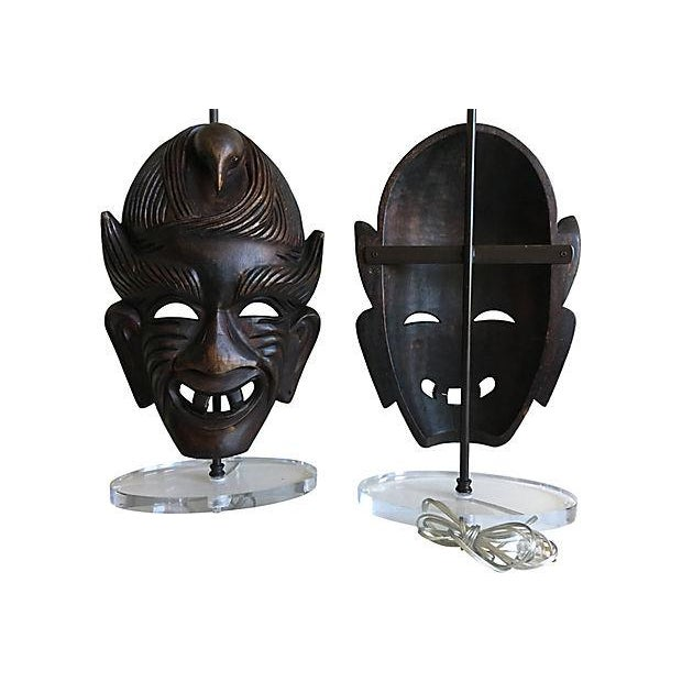 Brass African Tribal Mask Lamps - A Pair For Sale - Image 7 of 7