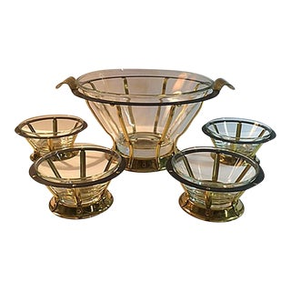 Mid-Century Brass & Glass Serving Bowls - Set of 5