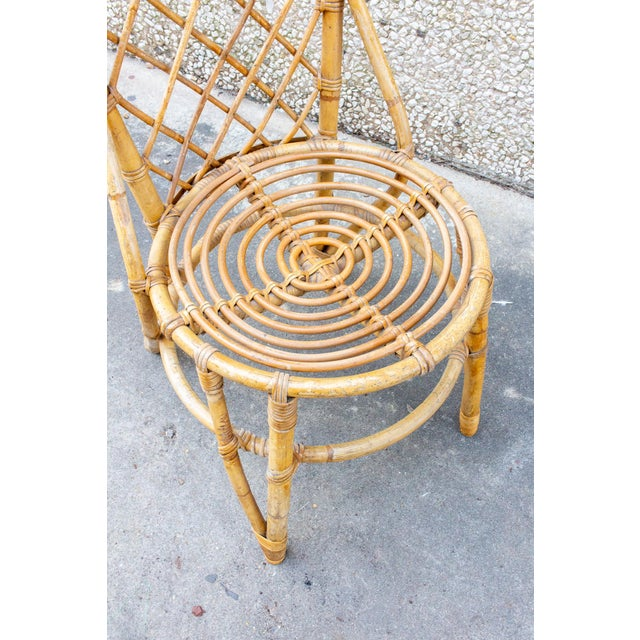 Vintage French Bamboo and Rattan Dining Chairs- Set of 8 For Sale - Image 9 of 13