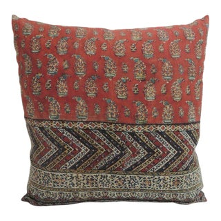 Antique Hand Blocked Red and Black Paisley Decorative Pillow