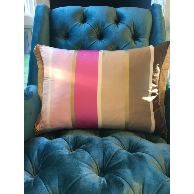 Designers Guild Silk Striped Pillow with pink and golds on front and turquoise and gold on back with gold flange. Down...