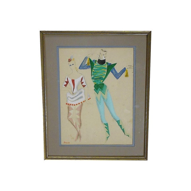 Framed Deco Costume Designs, Gouache and Ink - Image 1 of 4