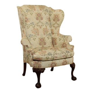 Southwood Chippendale Style Mahogany Ball And Claw Wing Chair (C) For Sale