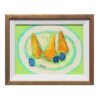1970s Post-Impressionist Style Fruit Still Life Oil Painting by David Adickes, Framed For Sale