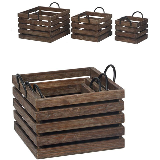"""Reclaimed Fir wood crates, (set of three). Stackable rustic wood crates with iron handles. Sizes 16"""" x 16"""" x 11"""" large 13""""..."""