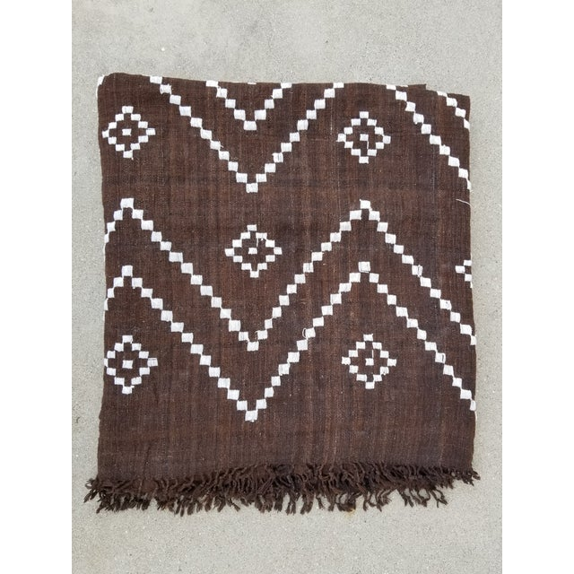 Brown Hand Woven Wool Bed Cover For Sale - Image 8 of 8