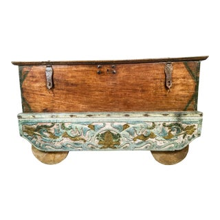 Antique Asian Trunk on Wheels For Sale