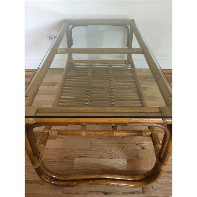 Vintage Franco Albini Style Bamboo Glass Top Table - Image 4 of 7