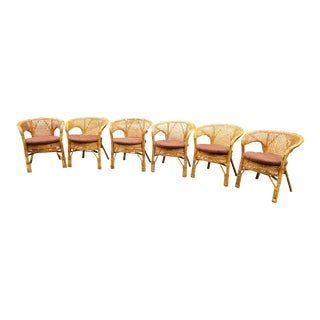1970s Boho Chic Rattan Wicker Chairs- Set of 6 For Sale