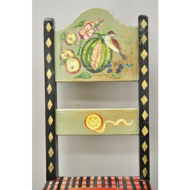 Late 20th Century French Country Style Hand painted Fruit Bird Butterfly Accent Side Chair. Item features hand painted...