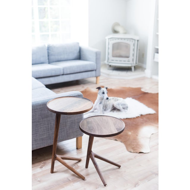 Walnut Tripod Nesting End Tables - Set of 3 For Sale - Image 7 of 13