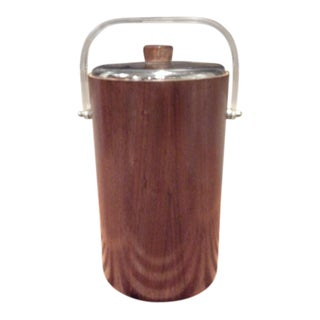 Thermos Mid-Century Vintage Teak Ice Bucket With Glass Liner