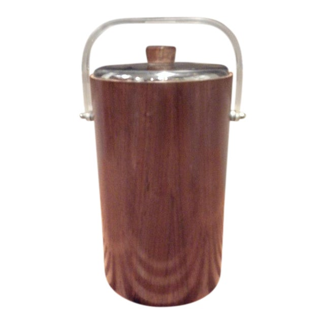 Thermos Mid-Century Vintage Teak Ice Bucket With Glass Liner For Sale