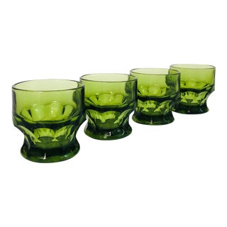 Mid Century Georgian Green Whiskey Glasses - Set of 4 For Sale