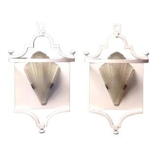 Vintage Pair Fine Art Lamps Portobello Road Collection White Sconces Wall Mounts 70s For Sale