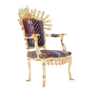 One of a Kind Pedro Friedeberg Hands and Ties Chair Gold Leaf For Sale