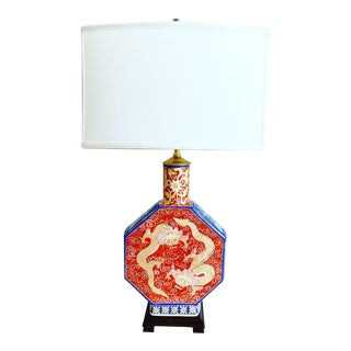 Antique Chinese Dragons Lamp & Shade For Sale