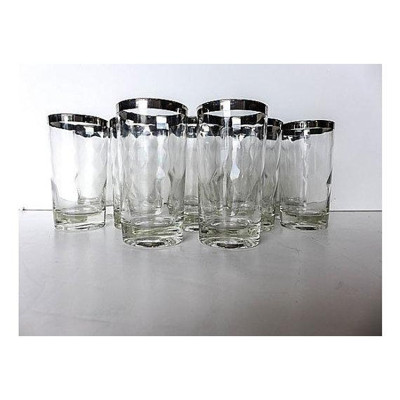 """Set of 11 Mid-Century Modern silver rim glassware. the perfect Mid-Century set to add to your bar cart! 2.5""""W X 4.75""""H"""
