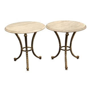 Pair of Gueridon Tables in Brass With Honed Travertine Tops - a Pair For Sale