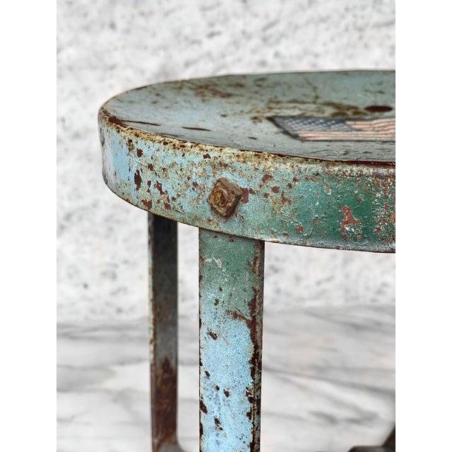 Vintage Rustic Farmhouse Aluminum Metal Low Milking Stool For Sale - Image 4 of 9