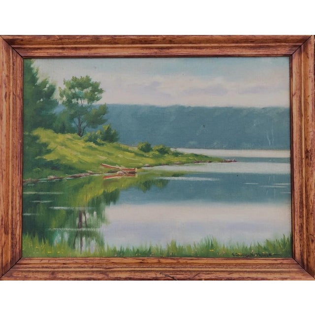 """Early 20th Century """"A Lake in the Berkshires"""" Landscape Oil Painting by J. Campbell Phillips, Framed For Sale - Image 10 of 10"""
