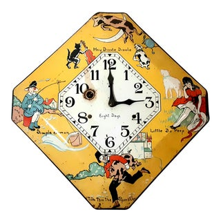 Early 20th Century Vintage Tin Nursery Rhyme 8 Day Enamel Clock For Sale