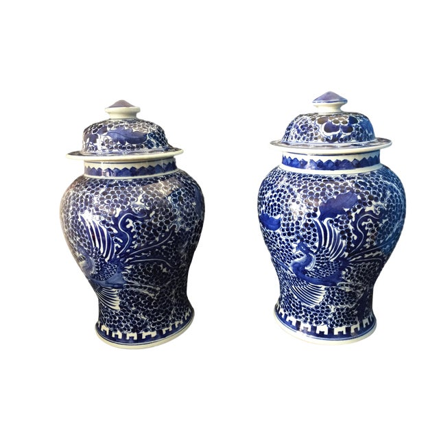 """Asian Blue & White Lidded Phoenix Ginger Jars - a Pair 14"""" H For Sale - Image 3 of 9"""
