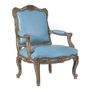 Early 20th Century Vintage Louis XV Style Painted and Parcel Gilt Armchair For Sale