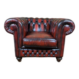 Vintage Mid-Century English Leather Chesterfield Club Chair, Oxblood For Sale