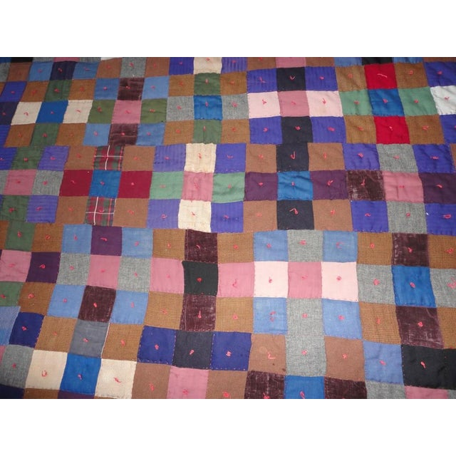 Early Pennsylvania Wool and Velvet One-Patch Quilt For Sale - Image 4 of 7