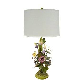 Tole Floral Table Lamp For Sale
