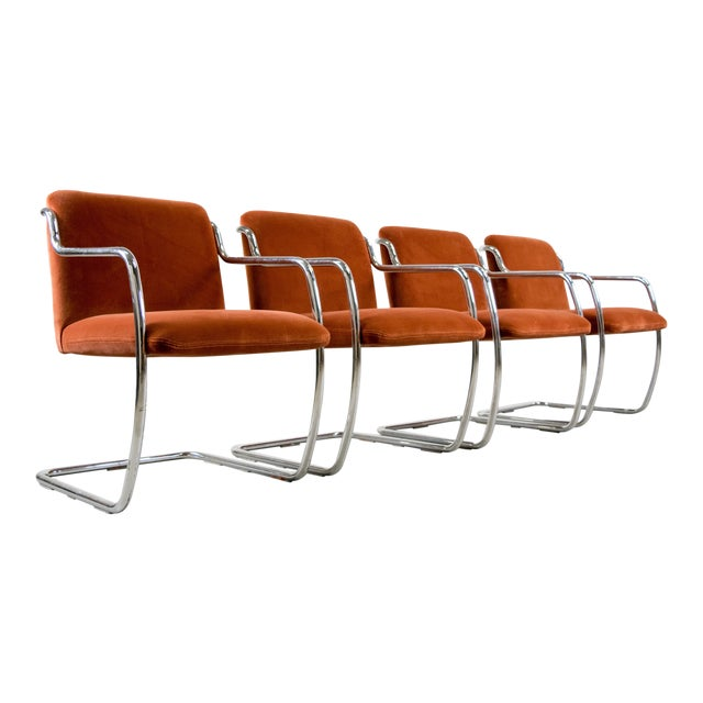 Brueton Chrome and Velvet Dining or Conference Chairs - Image 1 of 11