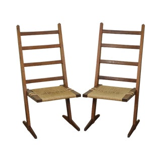 Studio Crafted Solid Walnut Pair of Rush Seat Side Chairs in George Nakashima Style For Sale