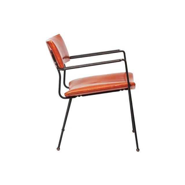 Mid-Century Iron and Leather Side Chair - Image 2 of 6