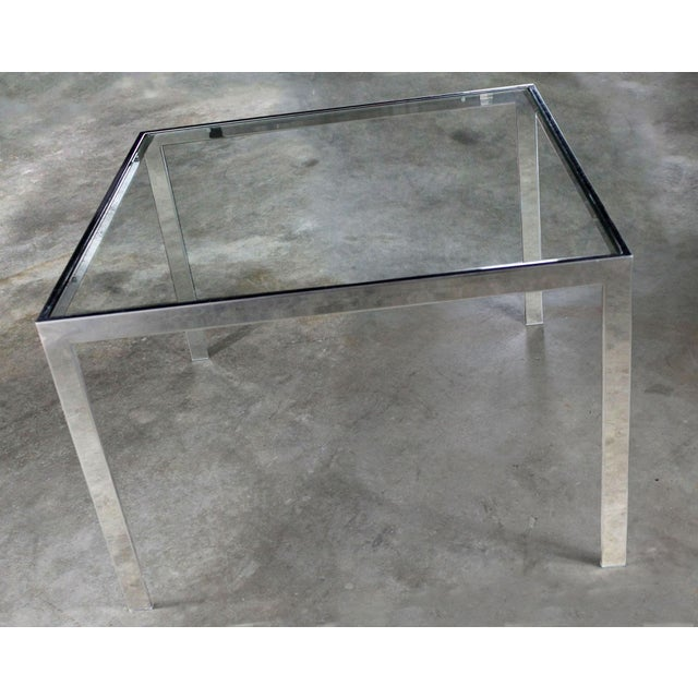 Milo Baughman Chrome and Glass Milo Baughman Attribution Parsons Style End Table Vintage Modern For Sale - Image 4 of 10