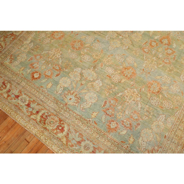 Pale Green Terracotta Antique Rug, 9'1'' X 12'7'' For Sale - Image 4 of 13