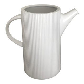 1950s Vintage Mid Century Modern White Ribbed Beverage Pitcher For Sale