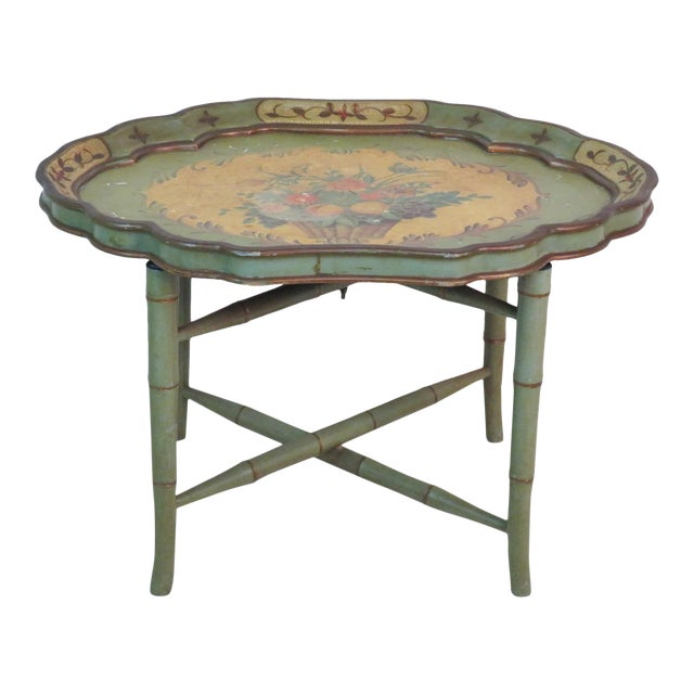 Mid 20th Century Faux Bamboo Paint Decorated Tray Top Coffee Table