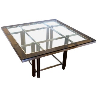 Amber Lucite and Chrome Square Dining Table, Italy, 1970s For Sale