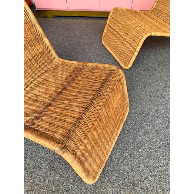 Italian Pair of Rattan Lounge Chair P3 by Tito Agnoli. Italy, 1960s For Sale - Image 3 of 12