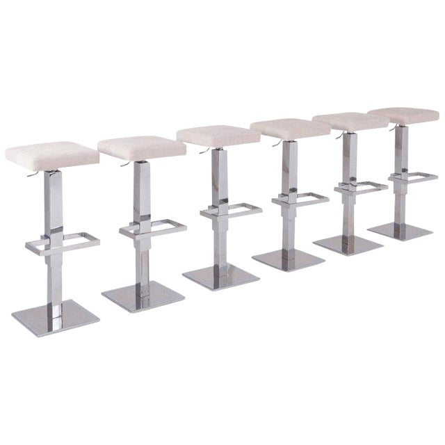 Maison Jansen Chromed Steel Adjustable Bar Stools With White Velvet Seating For Sale
