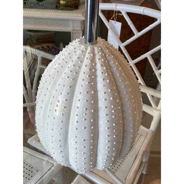 Hollywood Regency Vintage White Sea Urchin Style Palm Beach Table Lamps Newly Restored -A Pair For Sale - Image 3 of 12