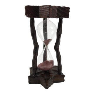 Hand Carved Wooden Hourglass Sculpture For Sale