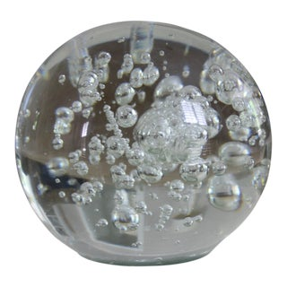 Large Vintage Murano Style Controlled Bubble Glass Sphere / Orb / Paperweight