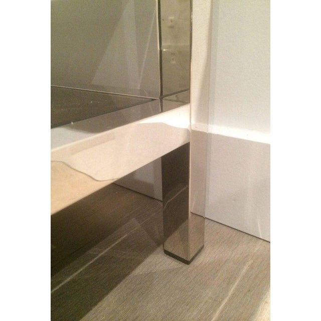 Pair of Large Chrome Side Tables with Bronzed Mirrors - Image 9 of 11