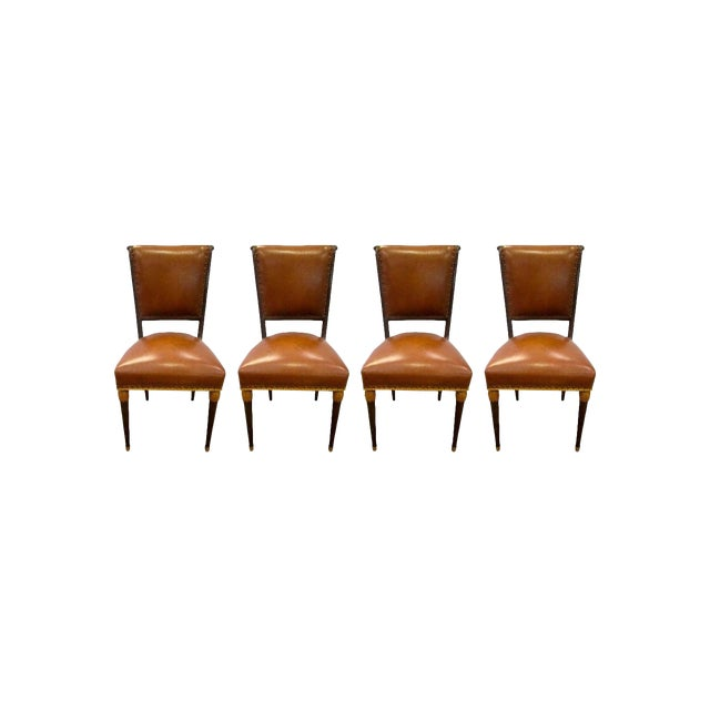 Set of Four French Carved Art Deco Brown Leather Chairs For Sale