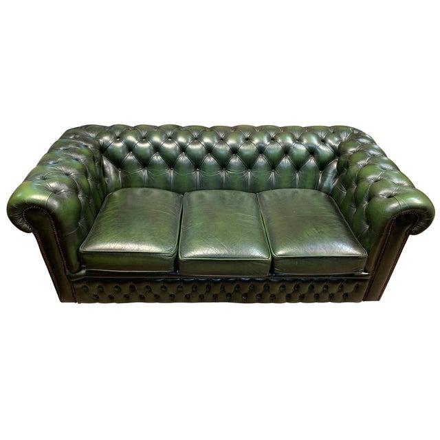 Midcentury English Emerald Green Chesterfield Sofa Chairish