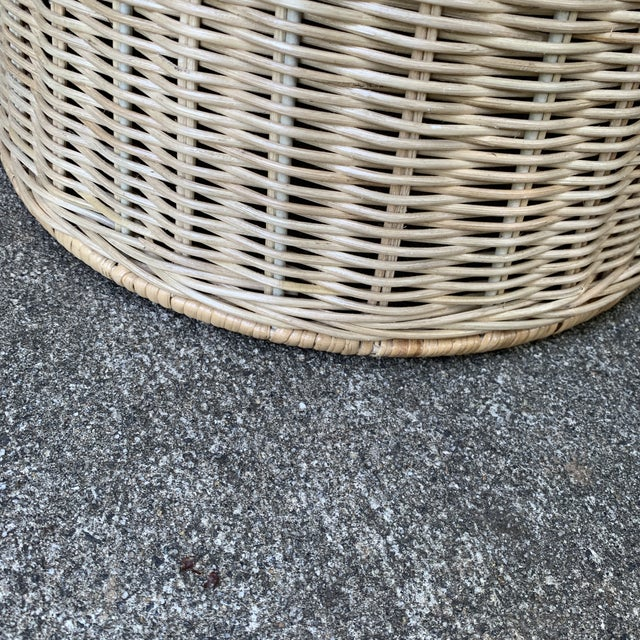 Metal Trompe l'Oeil Round Top Draped Rattan Tables - a Pair For Sale - Image 7 of 12
