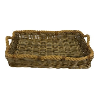 Large Wicker and Rope Tray For Sale
